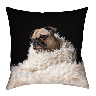 Karlos Pug in Blanket Square Throw Pillow with Zipper Size: 14