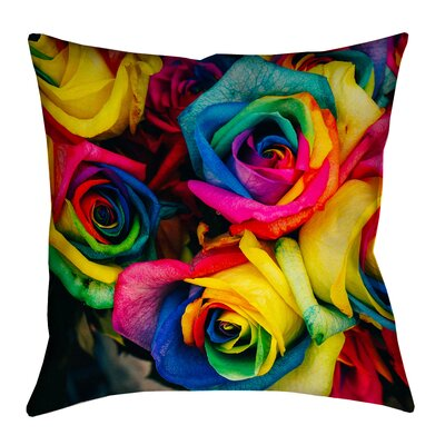 Avrah Rainbow Roses Outdoor Throw Pillow Size: 16 x 16