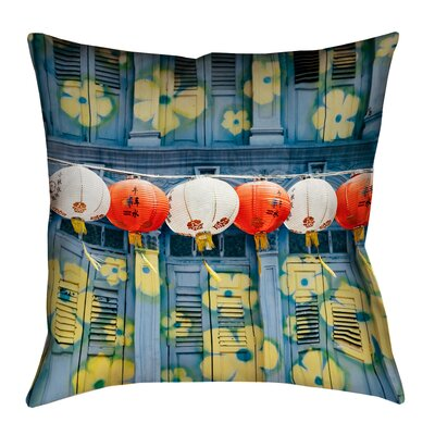 Akini Lanterns in Singapore Square Throw Pillow Size: 18 x 18