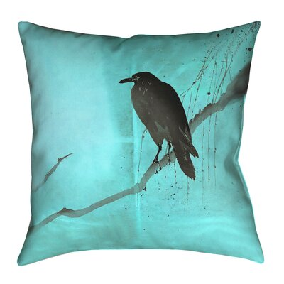 Hansard Crow and Willow Throw Pillow with Zipper Color: Blue/Black, Size: 14 x 14