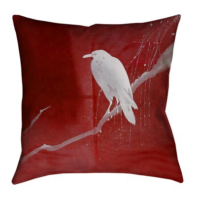 Hansard Crow and Willow Square Pillow Cover Size: 16 x 16, Color: Red/White