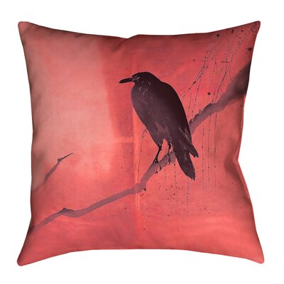Hansard Crow and Willow Throw Pillow with Zipper Color: Red/Black, Size: 16 x 16