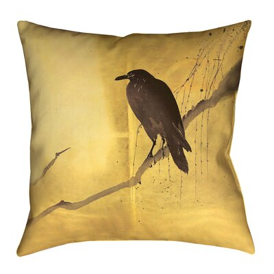 Hansard Crow and Willow Throw Pillow with Zipper Size: 14 x 14, Color: Yellow/Black