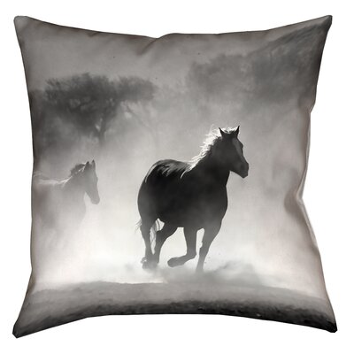 Aminata Galloping Horses Square Double Sided Print 100% Cotton Pillow Cover Size: 14 x 14