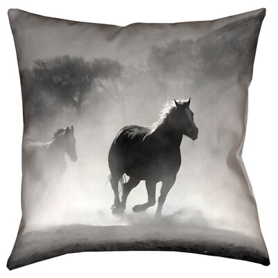 Aminata Galloping Horses Double Sided Print 100% Cotton Throw Pillow Size: 18 x 18