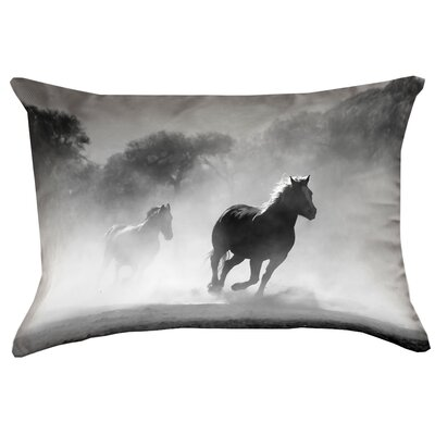 Aminata Galloping Horses Rectangular Double Sided Print Indoor Lumbar Pillow