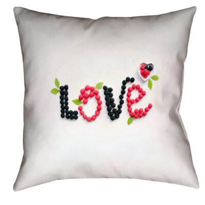 Buoi Love and Berries Double Sided Print 100% Cotton Pillow Cover Size: 14 x 14