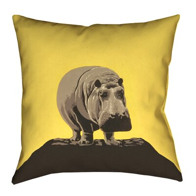 Hansard Vintage Hippo Zoo Poster Pillow Cover with Zipper Size: 14 x 14, Color: Yellow
