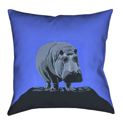 Hansard Vintage Hippo Zoo Poster Linen Pillow Cover Size: 26 x 26, Color: Blue