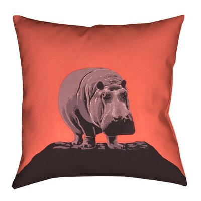 Hansard Vintage Hippo Zoo Poster Pillow Cover with Zipper Size: 18 x 18, Color: Red