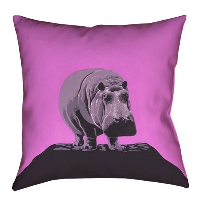 Hansard Vintage Hippo Zoo Poster Pillow Cover with Zipper Size: 16 x 16, Color: Pink