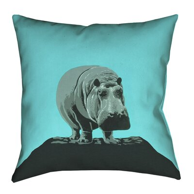 Hansard Vintage Hippo Zoo Poster Pillow Cover with Zipper Size: 14 x 14, Color: Teal