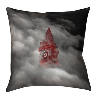 Double Sided Print Square Watercolor Gothic Clocktower Throw Pillow Size: 16 x 16
