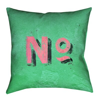 Enciso Graphic Wall Pillow Cover with Zipper Size: 14 x 14, Color: Green/Pink