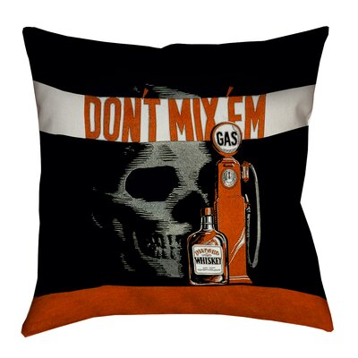 Anti-Drunk Driving Poster Pillow Cover with Zipper Size: 14