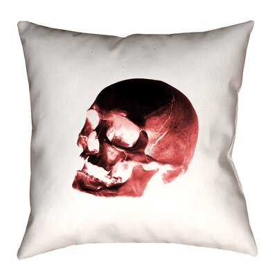 Skull Floor Pillow Color: Red/Black/White, Size: 28 x 28