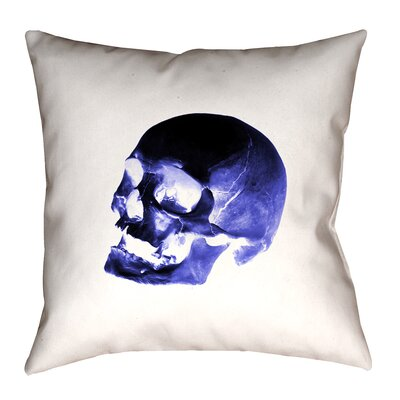 Skull Outdoor Throw Pillow Size: 18 x 18, Color: Blue/Black/White
