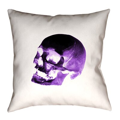 Waterproof Skull Throw Pillow Size: 16 x 16, Color: Purple/Black/White