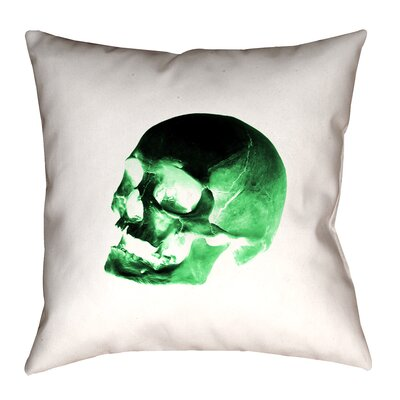 Skull Outdoor Throw Pillow Size: 18 x 18, Color: Green/Black/White