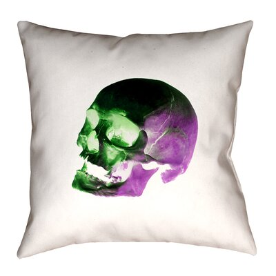 Skull Outdoor Throw Pillow Size: 18 x 18, Color: Green/Purple/Black/White