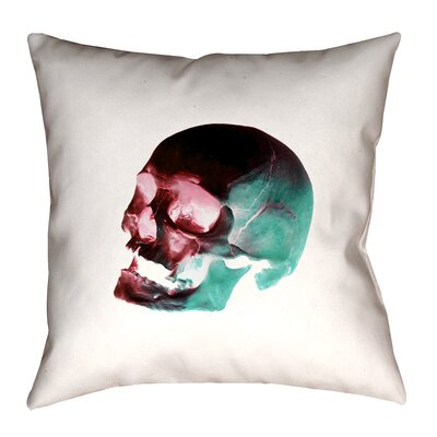 Skull Outdoor Throw Pillow Size: 16 x 16, Color: Red/Blue/Black/White