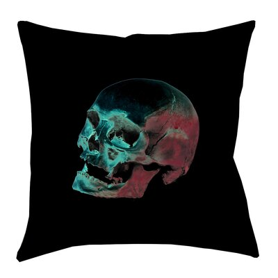 Skull Outdoor Throw Pillow Size: 16 x 16, Color: Red/Blue/Black