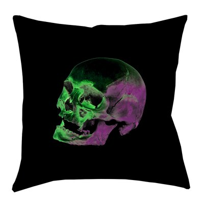 Skull Floor Pillow Size: 28 x 28, Color: Green/Purple/Black