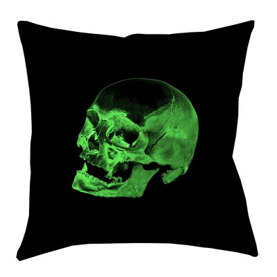 Skull Outdoor Throw Pillow Size: 18 x 18, Color: Green/Black