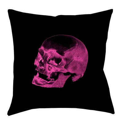 Skull Outdoor Throw Pillow Size: 18 x 18, Color: Pink/Black