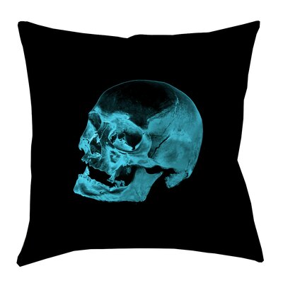 Skull Outdoor Throw Pillow Size: 20 x 20, Color: Blue/Black