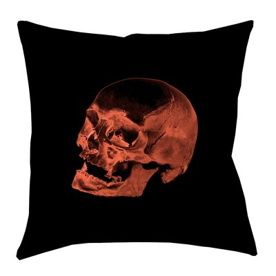 Skull Outdoor Throw Pillow Size: 16 x 16, Color: Red/Black