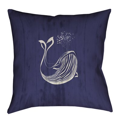 Lauryn Whale Square Throw Pillow with Zipper Size: 18 x 18