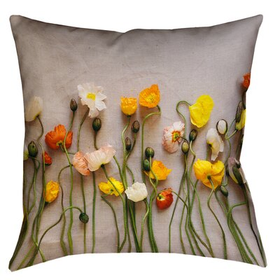 Tuyen Dried Flowers Double Sided Print Square Pillow Cover with Down Alternative Size: 14 x 14