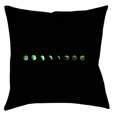 Enciso Moon Phases Square Throw Pillow Color: Green, Size: 18 x 18