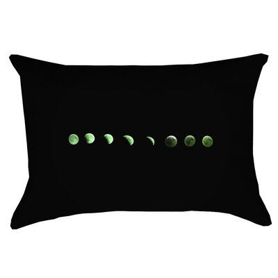 Enciso Moon Phase Double Sided Print 100% Cotton Lumbar Pillow Color: Green