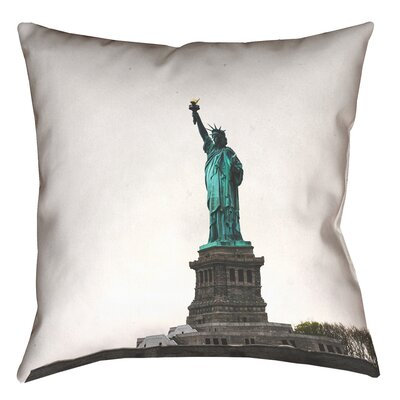 Statue of Liberty Double Sided Print Square Pillow Cover in White Size: 18 x 18