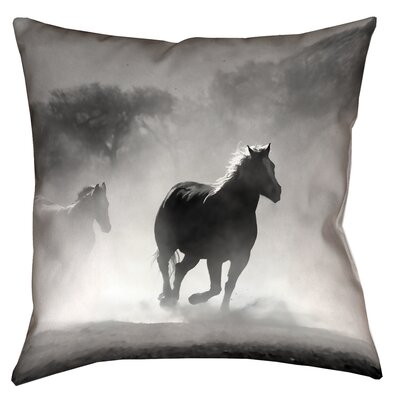 Aminata Galloping Horses Double Sided Linen Print Throw Pillow Size: 26 x 26