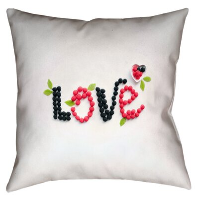 Buoi Love and Berries Square Double Sided Print Indoor Throw Pillow Size: 16 x 16
