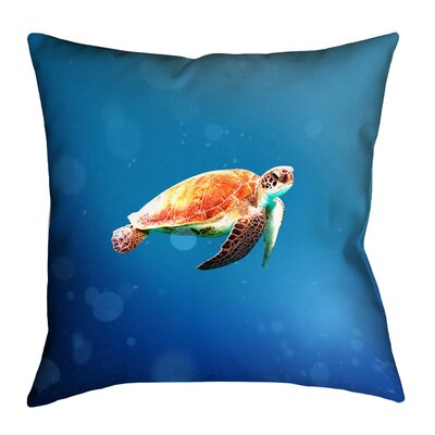 Sea Turtle Linen Pillow Cover Size: 14 x 14