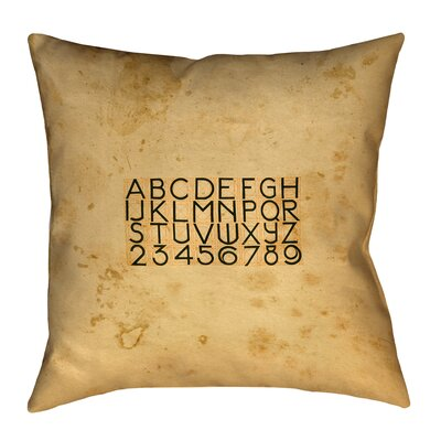 Daniyar Vintage Typography Pillow Cover Size: 14 x 14