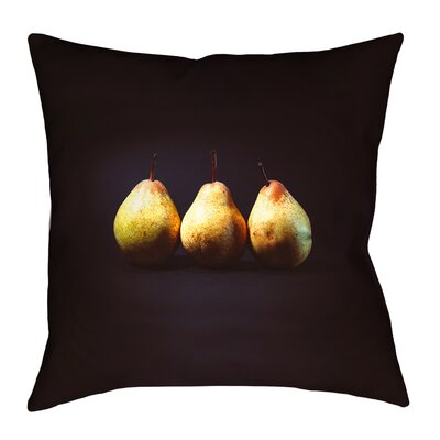 Pears Square Pillow Cover with Zipper Size: 16 x 16