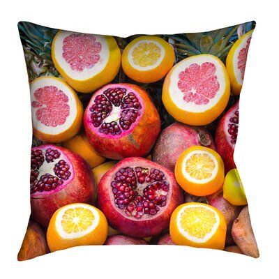 Fruits Square Throw Pillow with Zipper Size: 16