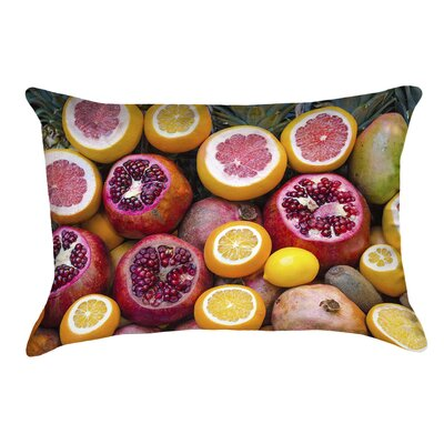Fruits Square Pillow Cover with Zipper Size: 14 x 14