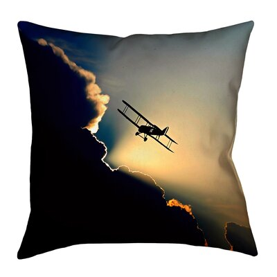 Plane in the Clouds Square Linen Throw Pillow Size: 14 x 14