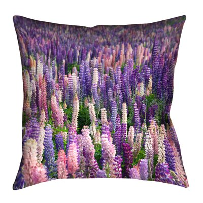 Joyeta Lavender Field Square Throw Pillow Size: 14 x 14