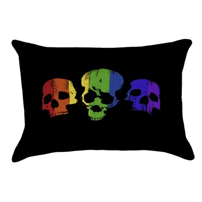 Rainbow Skulls Outdoor Lumbar Pillow