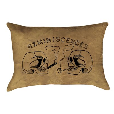 Vintage Reminiscences Skulls Double Sided Lumbar Pillow Type: Pillow Cover, Material: Suede