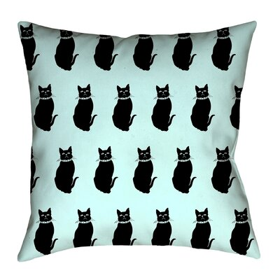 Pecora Cat Pattern Floor Pillow Size: 40 x 40, Color: Blue