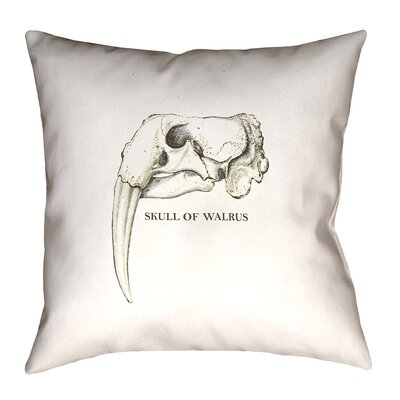 France Walrus Skull Throw Pillow Size: 26 x 26