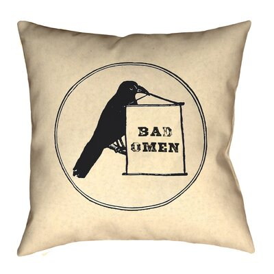 Tillett Bad Omen Raven Outdoor Throw Pillow Size: 18 x 18